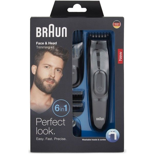 BRAUN Face & Head trimming kit 6-in-1 (£20) ❤ liked on Polyvore featuring men's fashion, men's grooming and men's shaving