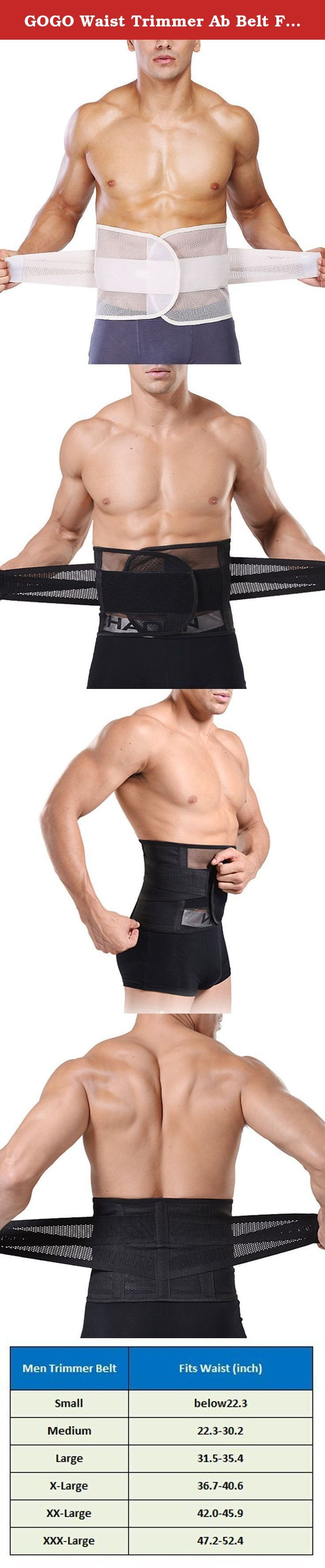 """GOGO Waist Trimmer Ab Belt For Women & Men, Abdominal Trainers - Black,M. This breathable waist belt is professionally engineered to retain your abdominal temperature and excess sweat when you exercises. The trimmer belt is made of the high elasticity mesh. Our size is not standard US Size. Please check our SIZE CHART in the description or image to get the perfect fit. Kindly suggest you to order two sizes up than what you usually wear. Small -- Waist Relaxed below 22.3""""; Medium -- Waist..."""