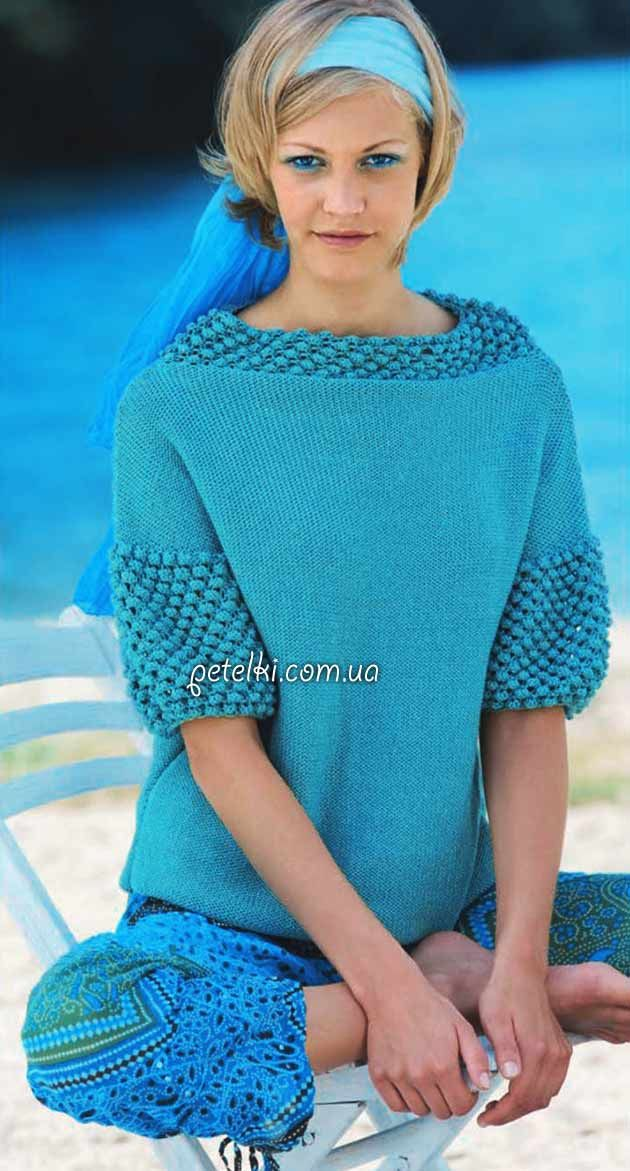 Pullover with a pattern of bumps spokes.  Description of knitting