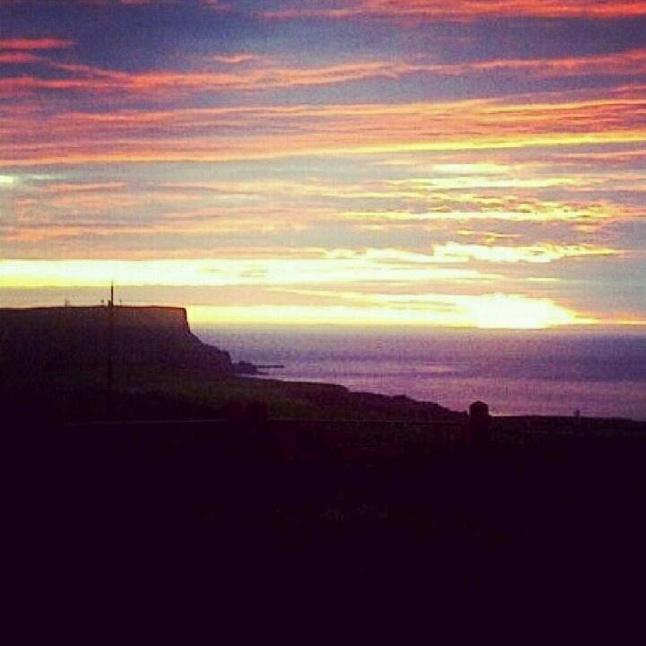 Sunset over Benbane Head, North Coast, Northern Ireland