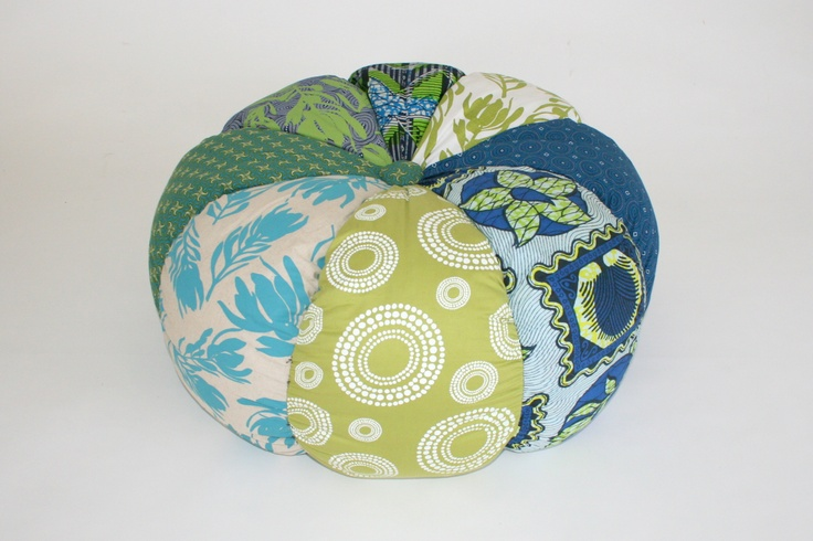 Pouffe in green and blues - brilliant