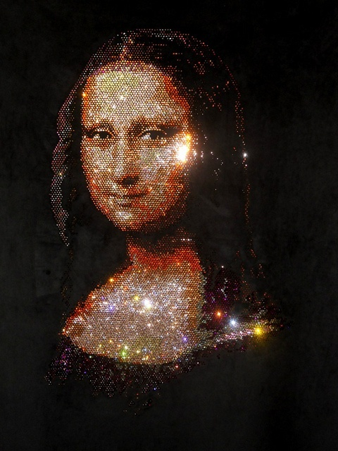 Mona Lisa made from Rhinestones and Beads, Pop Art, Collage Art, via Flickr.