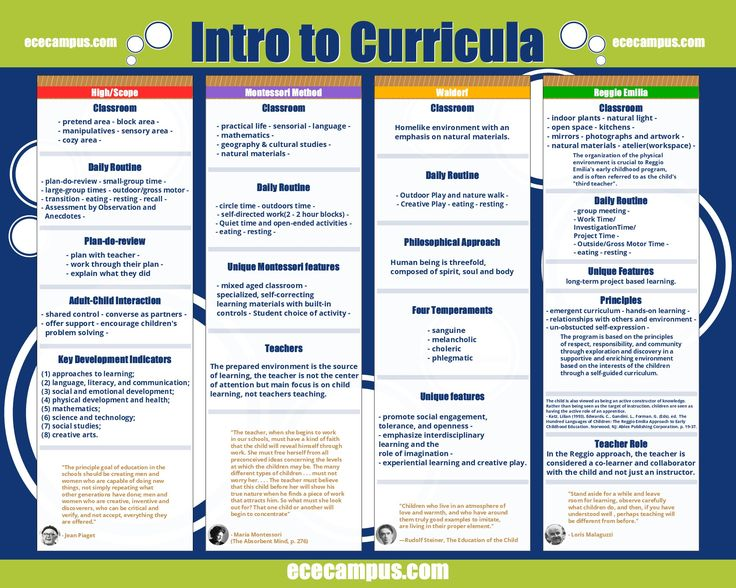 Intro to Curricula is a fun poster comparing and contrasting Reggio Emilia, High/Scope, Montessori and Waldorf curricula.