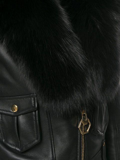 Shop Philipp Plein faux leather jacket.