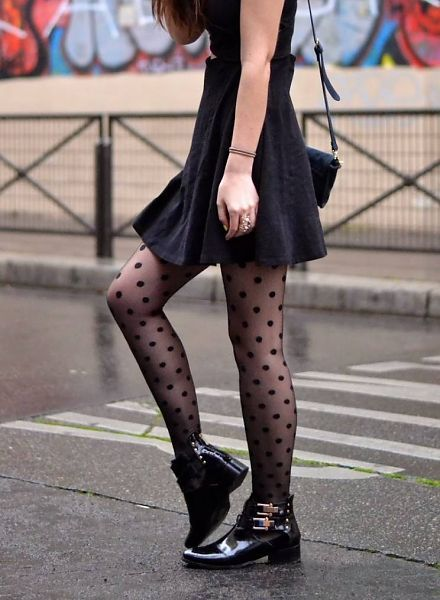 Marianne Claudia 40 panty met stippen Zwart (Black)