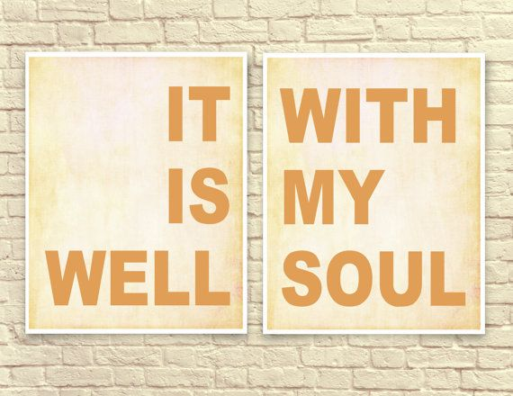 Christian Wall Art, christian Art Print, Typography, Wall Art, Hymnal Lyrics, It Is Well With My Soul, Christian Gifts, Set of Two.
