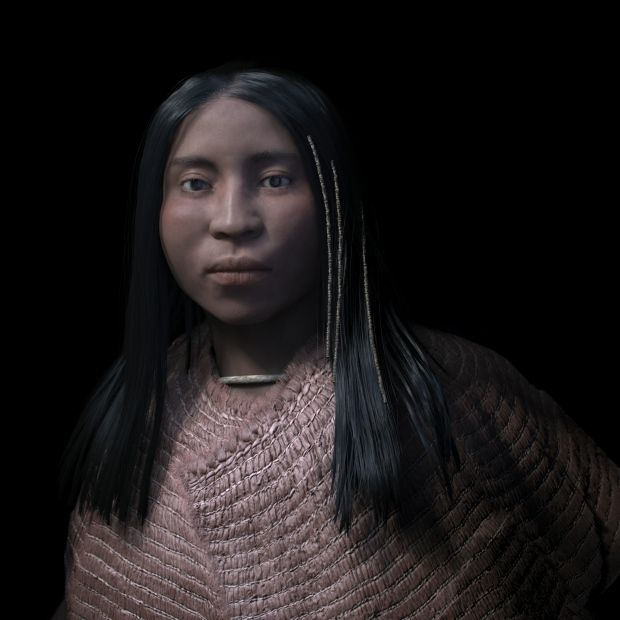 shíshálh womanA 3D forensic facial reconstruction of a shíshálh woman who lived nearly 4,000 years ago. She was buried with thousands of stone and shell beads, some of which were beaded into her hair. (Philippe Froesch, Visual Forensic)