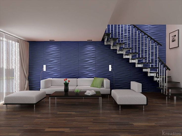 Living Room Under Stairs With Blue Wall 3d Wallpaper Cool For Home Interior