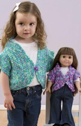 "just like me shrug for toddler and 18"" doll (free pattern at red heart)"