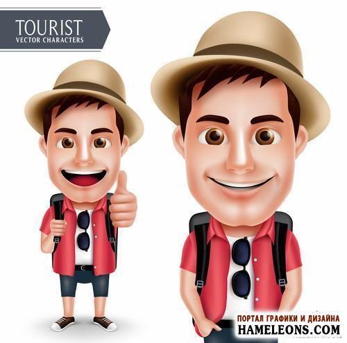 В векторе счастливые люди - туристы, путешественники   Summer Character