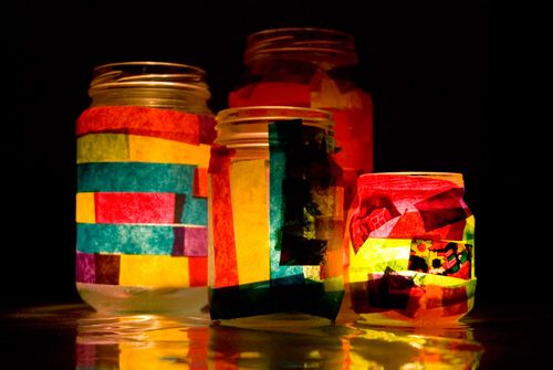 Jar Lanterns. Good activity for preschoolers or would make a great mother's day/father's day gift. #preschool activities