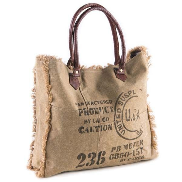 "The Vintage Stamp Fringe Tote features a washed khaki colored tarp with leather handles and fringed seams. Faded graphics add vintage style. Measures 17""W x 15""H x 4""D. Made from recycled antique mili"