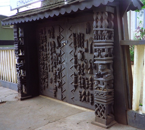 Africa | The elaborately carved door to the entrance of the Ethnographic museum in Benin.  © Jeff  Susan ~ 4n Traveller