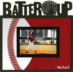 """Batter Up"" Baseball Page...with stitching on the ball & framed photo.   theforevermoments.com."