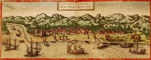 Calicut, India as rendered in 1572. Europe used brutal tactics in India and Southeast Asia in efforts to get in on the spice trade. Image is from Georg Braun and Franz Hogenber's atlas Civitates orbis terrarum.