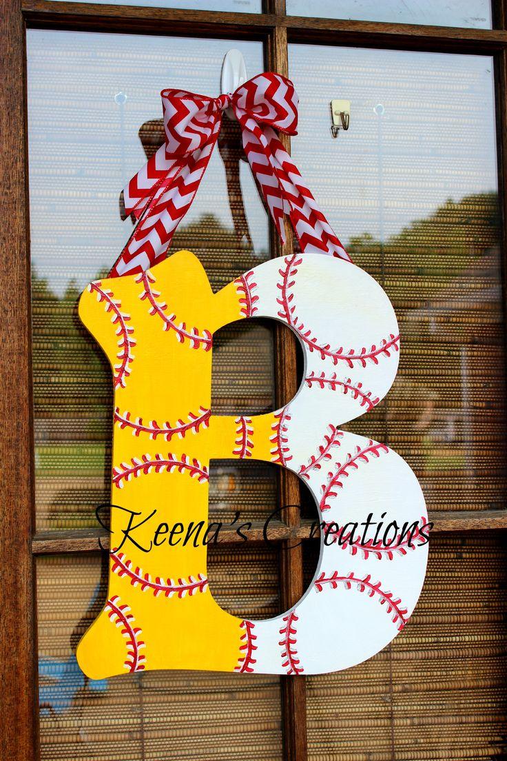 Half Softball Half Baseball Wooden Monogram Door Hanger Keena's Creations