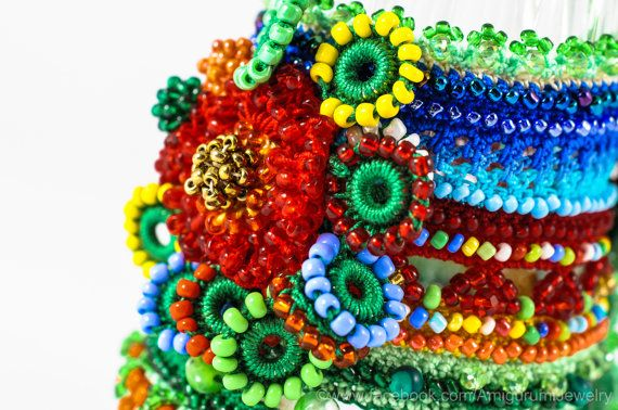Crochet Beaded Bracelet Cuff. Crochet Jewelry. Freeform Crochet Cuff. Green Blue…