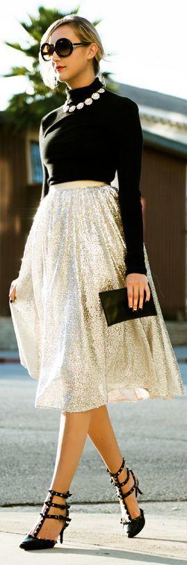 Alice + Olivia Silver Sequin Tulle Midi Skirt: