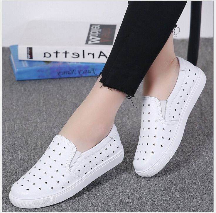Cheap slip on flats, Buy Quality shoes slip on directly from China slip on Suppliers: Women shoe Genuine leather hole hole small white shoes Slip On Flats Shoes soft bottom students  loafers