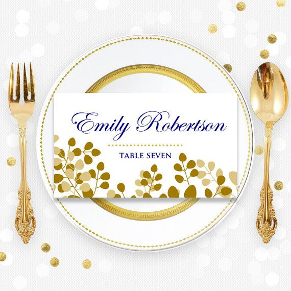 Printable Place Card Template Folded Tent Cards Gold Navy Floral Wedding Instant Download