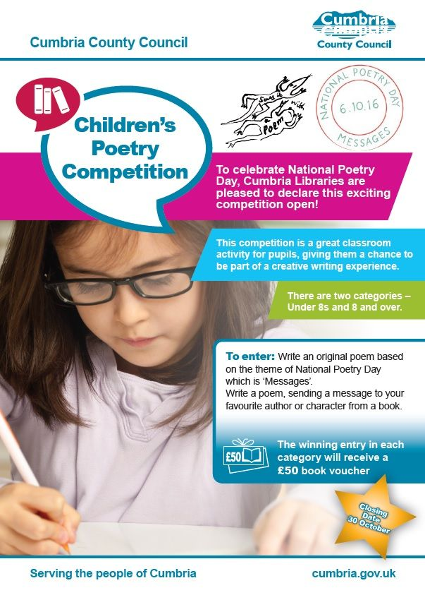 Cumbria Children's Poetry Competition Launched http://www.cumbriacrack.com/wp-content/uploads/2016/10/children-poetry-competition-cumbria.jpg To celebrate this year's National Poetry Day on Thursday 6th October, Cumbria Libraries have launched the 'Cumbria Children's Poetry Competition'    http://www.cumbriacrack.com/2016/10/04/cumbria-childrens-poetry-competition-launched/