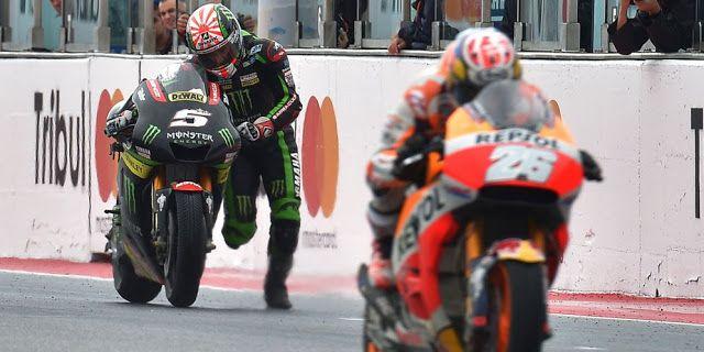 Debutan Monster Yamaha Tech 3, Johann Zarco mengaku perasaannya campur aduk ketika harus mati-matian mendorong motornya ke garis finis MotoGP San Marino di Misano akhir pekan lalu, usai bahan bakarnya habis begitu saja di Tikungan 11 pada lap terakhir.