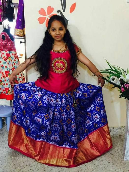 Girl Blue Pochampally Silk Lehenga In 2019 Kids Lehenga