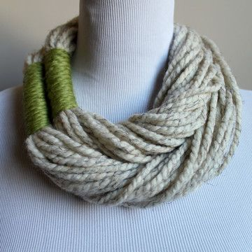 Here's what you can do with that single skein of yarn that you love so much! I like this idea better than the t-shirt necklaces. Plus it's a great way to show off art yarn like this http://farm6.staticflickr.com/5016/5477576794_021e7e3dea.jpg