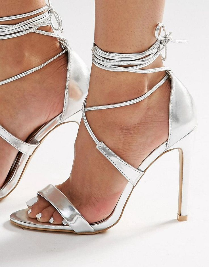 Image 1 of True Decadence Silver Metallic Ankle Tie Heeled Sandals