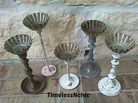 Repurposed tart tins & candlesticks