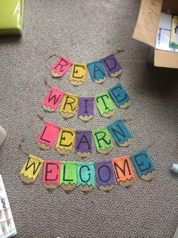 Classroom Decor Burlap Pencil Banner by SouthernSurseys on Etsy.