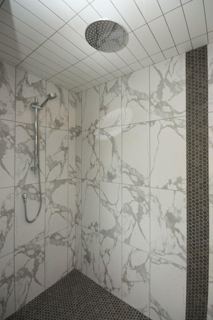 Ensuite bathroom, tiled shower, rain shower head, two shower heads, custom shower