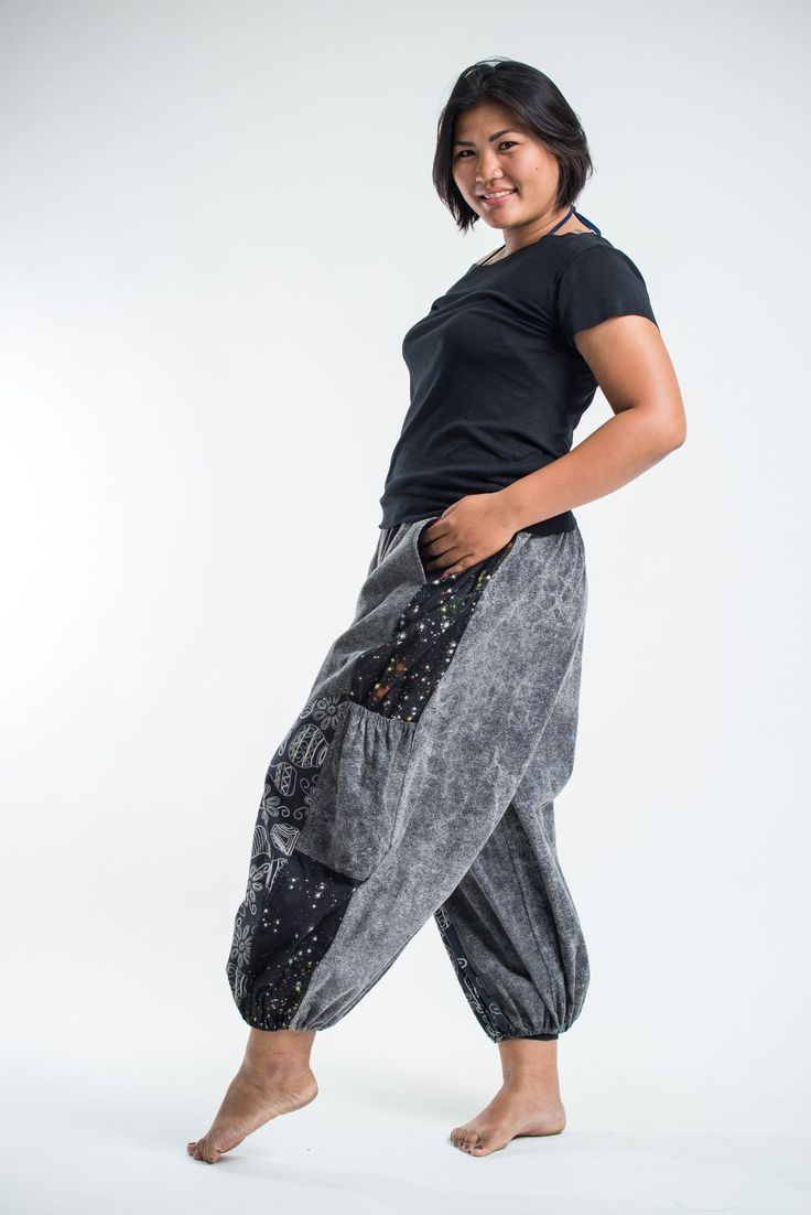 Stone Washed Patchwork Unisex Pants in Black
