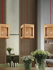 Pendant Lights Original Wood Color Cane Hand-Woven Modern