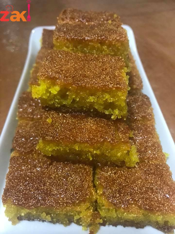 الهريسة الفلسطينية على أصولها احفظ الوصفة الزاكية فورا زاكي Dessert Cake Recipes Sweets Recipes Arabic Dessert