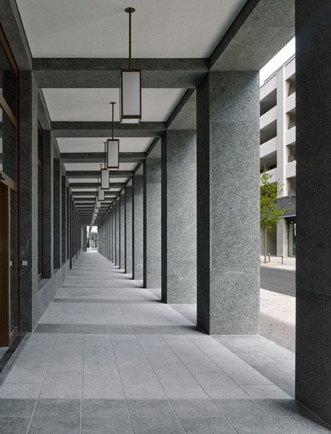 Modern colonnade. The Richtiring office building by Max Dudler.