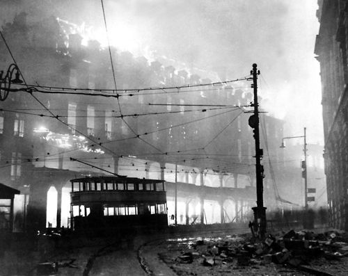 Sheffield in flames after a German air raid. England, 1941.: German Air, England, London, Wwii, Sheffield, War Ii, Place, 1940, Air Raid