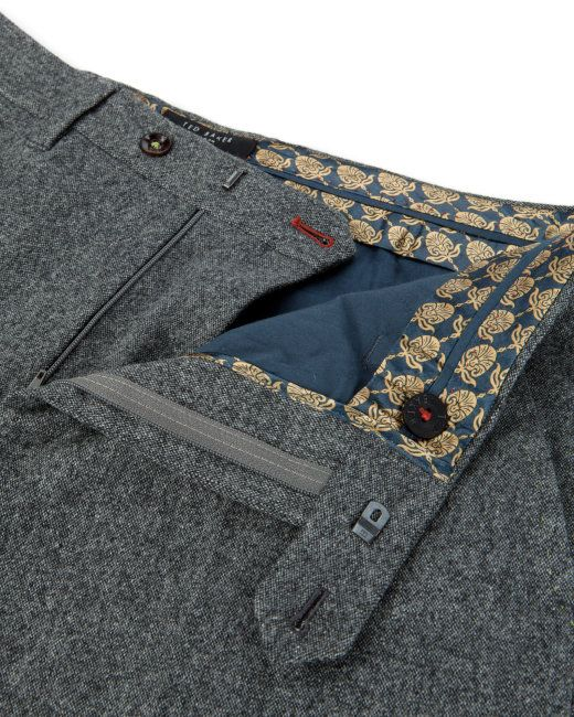 Wool flannel trouser - Grey   Trousers   Ted Baker UK