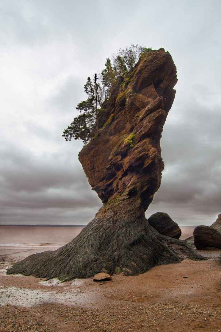 Dramatic Rock, Hopewell Cape, New Brunswick, Canada. The Hopewell Rocks are located on the shores of the Bay of Fundy at Hopewell Cape. This attraction is one of the Marine Wonders of the World, and is the site of some of the World's Highest Tides