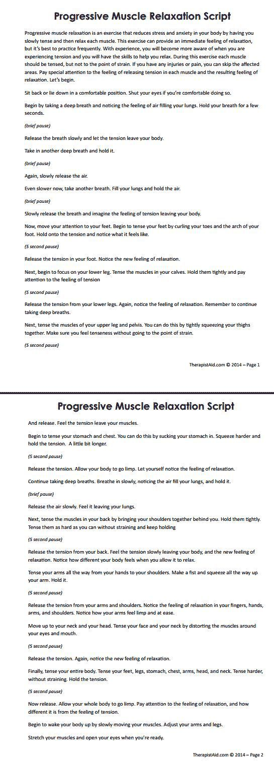 Best 25 muscle relaxation ideas that you will like on pinterest progressive muscle relaxation has been found to result in long term benefits in the treatment of anxiety use this script to guide clients through the robcynllc Image collections