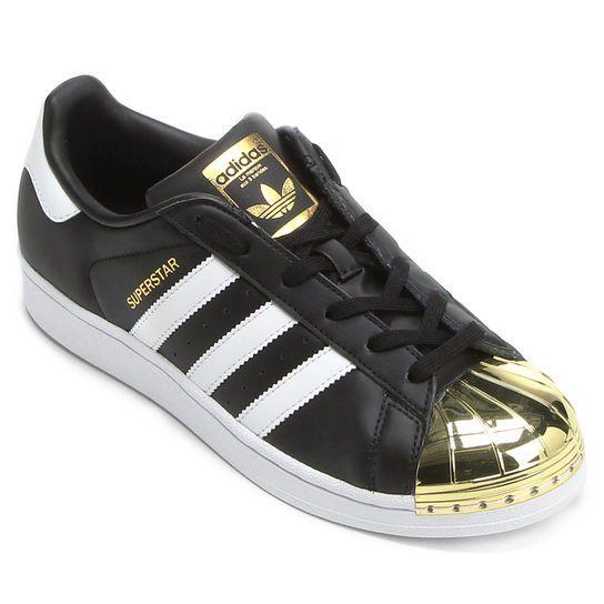 R$ 549,99  Tênis Adidas Superstar Mt - Preto+Dourado