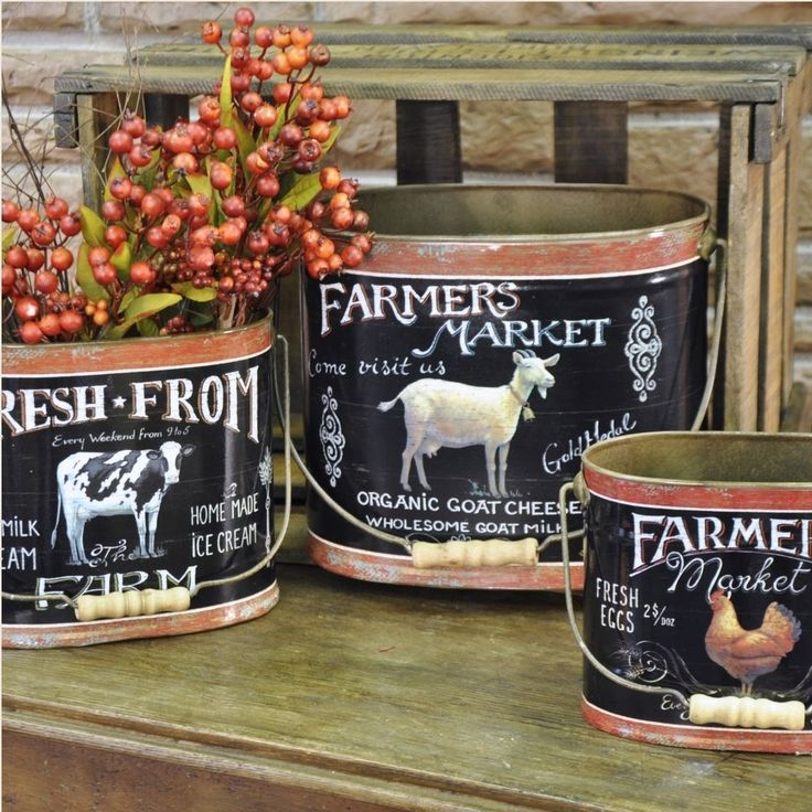 Vintage Look Farm Animal Tin Buckets Set 3 Have A Charming Antique Look That Would Farm Kitchen Decorcountry