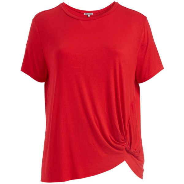 Abito Red Knot-Hem Tee (32 BRL) ❤ liked on Polyvore featuring plus size women's fashion, plus size clothing, plus size tops, plus size t-shirts, plus size, red t shirt, long length t shirts, red top and long t shirts