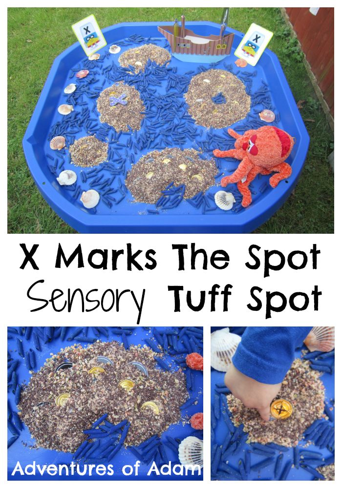 X is for X Marks The Spot Tuff Spot Dig for buried treasure and find the letter X in this pirate Tuff Spot Builders Tray| http://adventuresofadam.co.uk/x-marks-the-spot-tuff-spot/