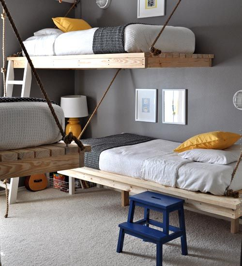 Hanging beds. Space saver!: Hanging Beds, Bunk Beds, Boys Rooms, Rooms Ideas, Kidsrooms, Bedrooms, House, Bunkbeds, Kids Rooms