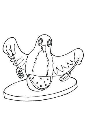 ausmalbild vogel beim essen zum ausmalen. ausmalbilder | ausmalbildervögel | malvorlagen |