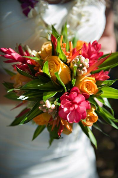 Tropical Bridal Bouquet with ginger, roses, tuberose, greenery, and heliconias. Made on Kauai by Stacy.