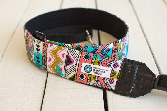 Vibrant Tribal Print Camera Strap Tribal Camera by DogDroolDesigns