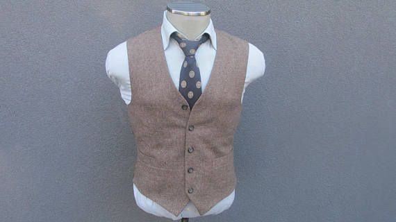 1970s Cambridge Members Tweed Vest / Wool Tweed Waistcoat Size