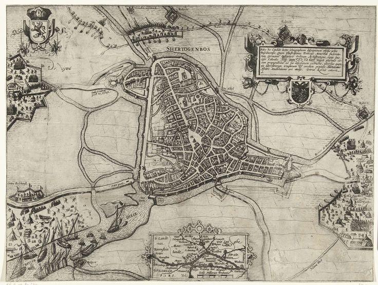 Pieter van der Keere | 's-Hertogenbosch tevergeefs belegerd door Maurits, 1603, Pieter van der Keere, 1603 - 1605 | 's-Hertogenbosch tevergeefs belegerd door Maurits, 18 augustus-september 1603. Kaart van 's-Hertogenbosch en het omliggende land met rechts het legerkamp van het Staatse leger onder Maurits. Links het kwartier van de vijand. Rechtsboven een versierde cartouche met opschrift in het Latijn en het wapen van Den Bosch, onderaan een inzet met een kaartje van het groter gebied.